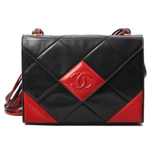 Chanel Vintage Black Lambskin Red Shoulder Bag