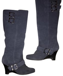 Naughty Monkey Navy Leather Wedge Boots