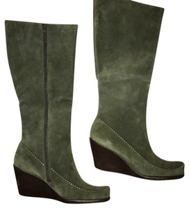Aerosoles Leather Green Wedge Boots