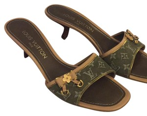 Louis Vuitton green denim Sandals