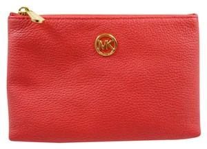 Michael Kors NEW Fulton Pebbled Leather Watermelon Travel & Cosmetic Case.
