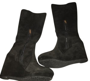 Elaine Turner Black Leather Suede Boots