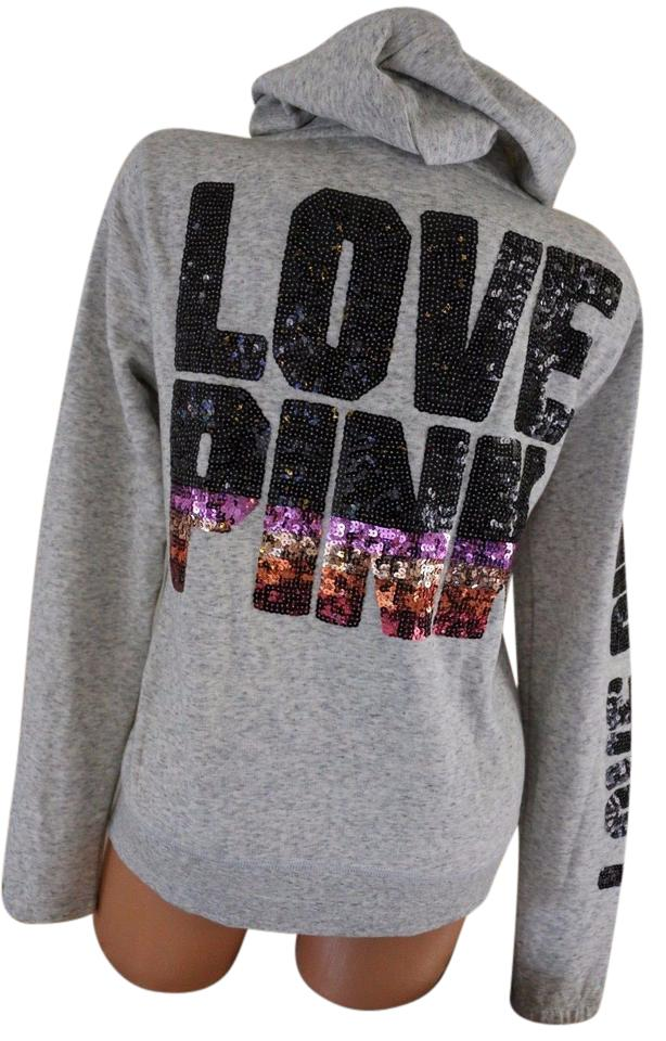 5920d9ef8304b Victoria's Secret Gray XS Pink Bling Love Pink Full Sweatshirt/Hoodie Size  0 (XS)
