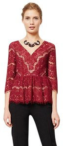 Anthropologie Maeve Red Lace Top Burgundy