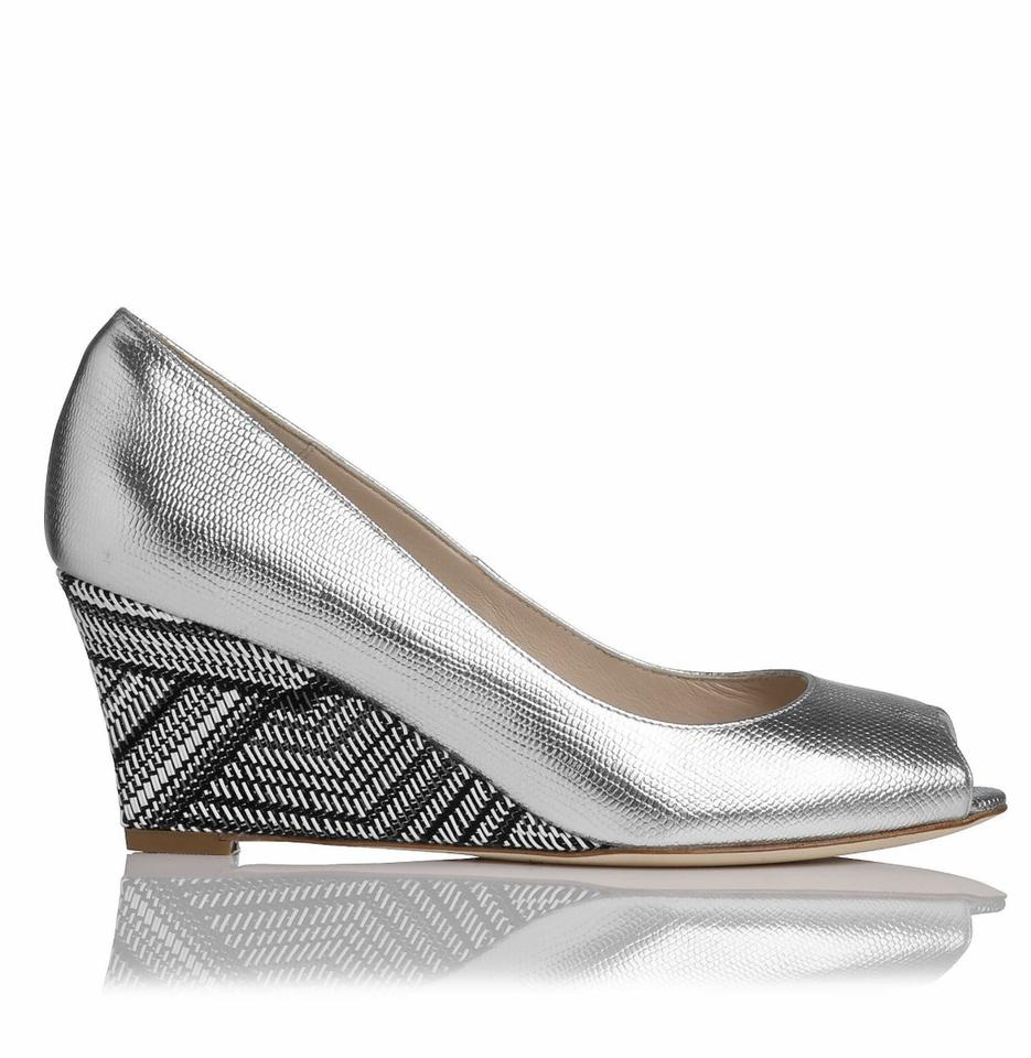 955f4c170fd L.K. Bennett Silver Zoey Metallic Lizard Print Leather Peep Toe Wedges