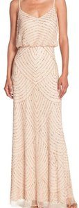 Adrianna Papell Champagne Gold Embellished Blouson Gown Dress