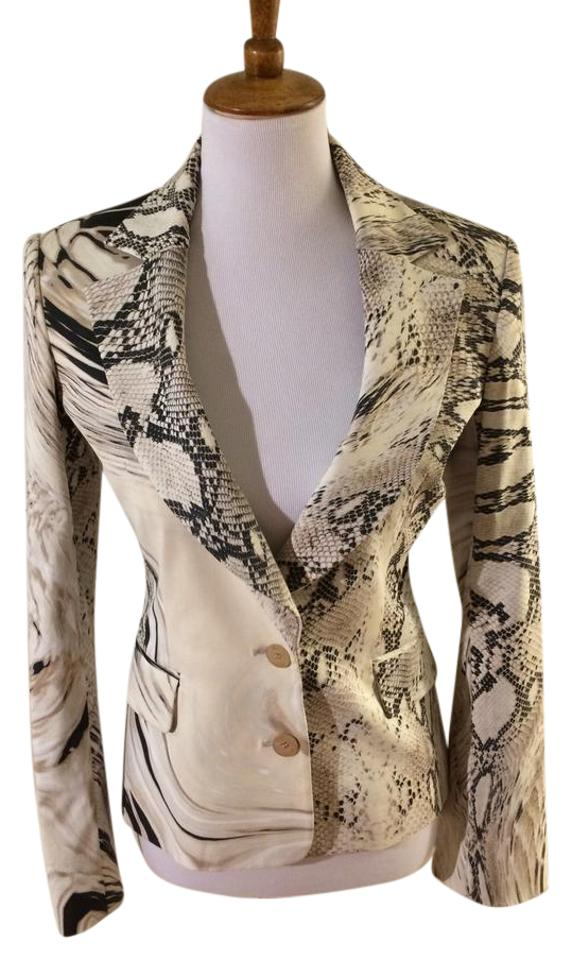 the latest b061f 6b9c1 Roberto Cavalli Python-Print, Cream Tan Black Blazer Image 0 ...