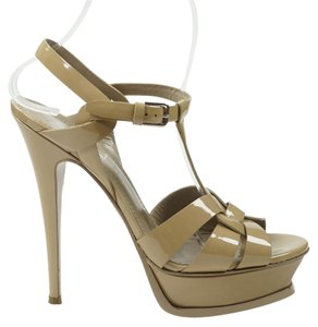 Saint Laurent Tribute 38 Patent Leather Ysl Nude Sandals