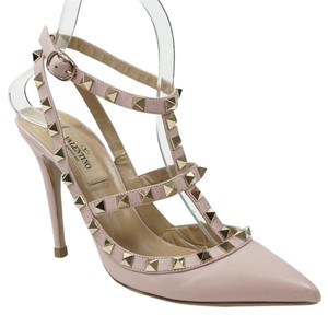 Valentino Rockstud 36.5 Pointed Toe Ankle Strap Pink Pumps