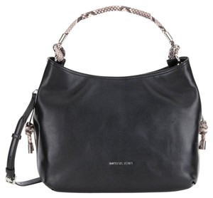 MICHAEL Michael Kors Satchel in Black / Python Trim