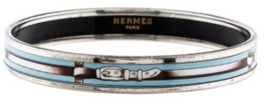 Hermès Narrow Bangle Printed Enamel Equestrian Buckle Belt Caleche GM 70 Blue