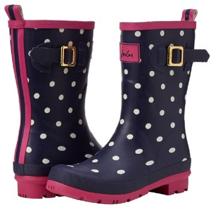 Joules navy with white polka dots and pink trim Boots