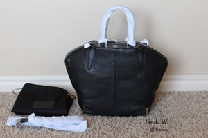 Alexander Wang Leather Silver Hardware Prisma Corners Pebbled Crossbody Tote in Black