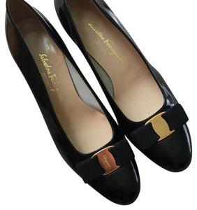 Salvatore Ferragamo Black Glossy Pumps