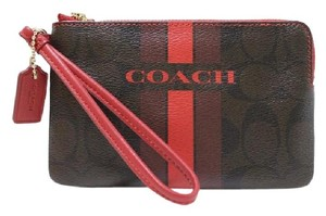 Coach Nwt F66052 889532660834 Wristlet in BROW TRUE RED