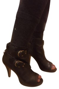 Madden Girl Ankle Boot Open Toe Buckle Black Boots