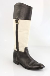 Gucci Leather Gg Tall Riding Equestrian Ivory/Brown Boots