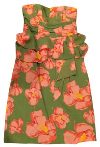 Nanette Lepore Silk Strapless Floral Dress