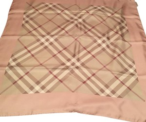 Burberry Burberry Prorsum Classic Check Beige Pink and Border Silk Scarf