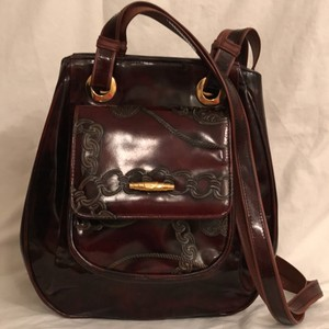 Sondra Roberts Vintage Patent Leather Embossed Cross Body Bag