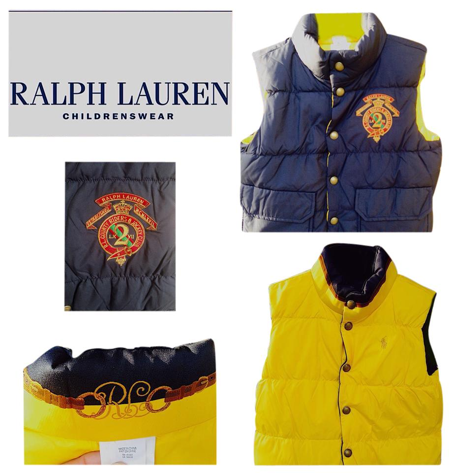 Polo Ralph Lauren Navy Yellow Boys Reversibile Crested Puffer 8-10 ... 296a32546754