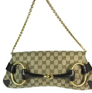Gucci Leather Gg Brown Horsebit Shoulder Bag