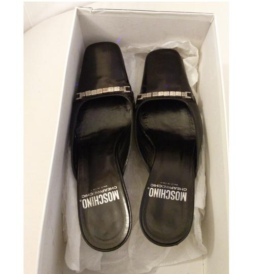 Moschino Leather Slides Mules Black Sandals