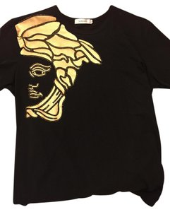 Versace Mens Designer T Shirt Black & Gold