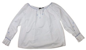 INC International Concepts Embroidered Bohemian Peasant Summer Relaxed Top WHITE