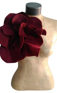 Other Kentucky Derby Prom Burgundy felt over sized rosette maget pin brooch