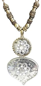 Lucky Brand Lucky Brand Boho Necklace Two-Tone Long Crystals Moonstone Pendant