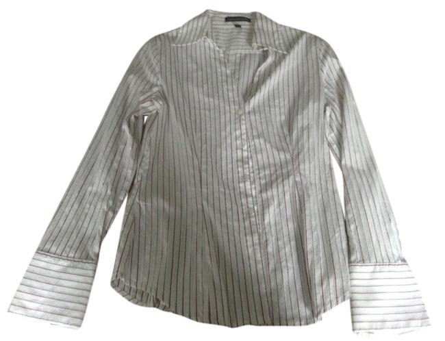 Express Button Down Shirt White with red and grey stripes