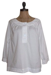Talbots Relaxed Fit Peasant Summer Top WHITE