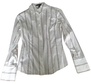 Express Button Down Shirt White with lavender and grey stripes