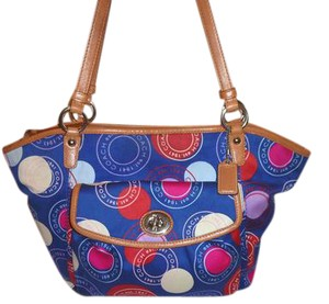 Coach Refurbished Jacquard Monogram Lined X-lg Tote in Blue, Red, Cream and Violet