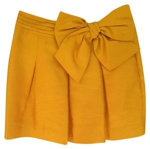 Kate Spade Bow Spade Satin Formal Mini Mini Skirt Yellow