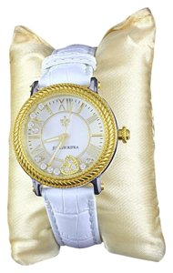 Judith Ripka Judith Ripka Odessey RARE Diamonique Stainless Steel Leather Watch