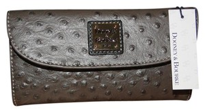 Dooney & Bourke Ostrich Emb Pewter Continental Clutch Wallet