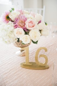 Gold Glitter Table Numbers #1-16