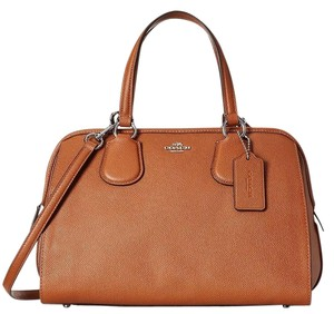 Coach Gold Hardware L Leather Satchel in Saddle