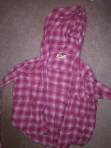 Hollister Hooded Flannel Button Down Shirt red