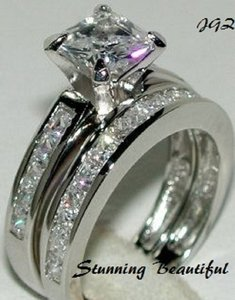 Other 2.0 Ct Princess Cut Engagement-wedding Solitaire & Band Ring Set * Size 7 * Exclusive New * Available In Size 5/6/7/8/9