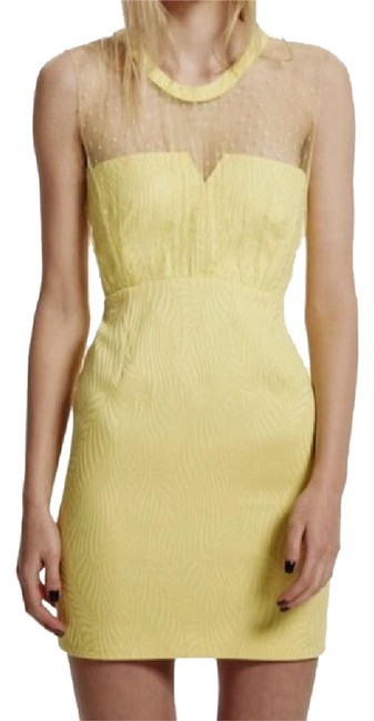 Item - Yellow Bustier Mid-length Cocktail Dress Size 4 (S)
