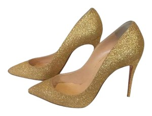 Christian louboutin gold shoes gold Pumps