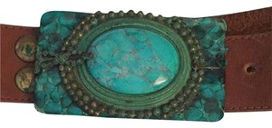 Vintage Turquoise leather belt Vintage Large Turquoise Belt Buckle