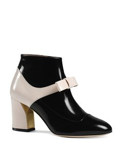 Gucci Chunky Heel Colorblock Black and White and Gold Pumps
