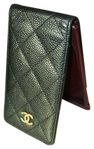 Chanel Chanel QUILTED Black Caviar Leather iPhone Cellphone Case Wallet Bag