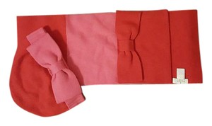 Kate Spade Color Block Pink/Red Wool Scarf and Hat