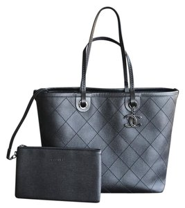 Chanel Shopping Shopping Fever Grand Shopping Quilted Cavier Leather Tote in Charcoal