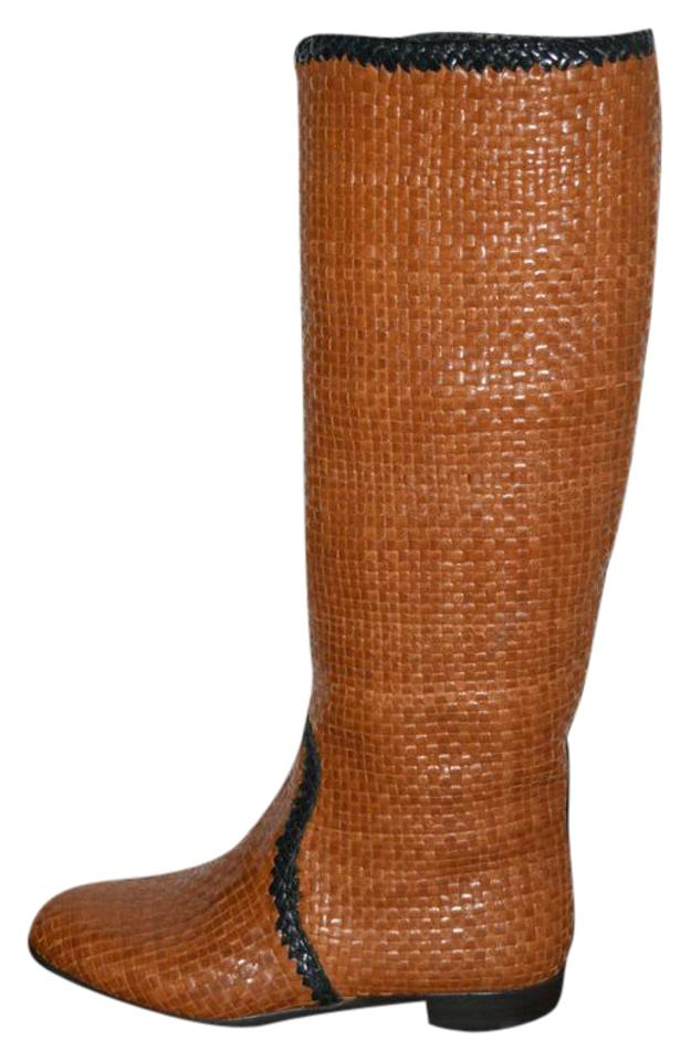 75f8028e7ec1 Prada Brown Woven Leather Riding 36 Boots Booties Size US 6 Regular ...